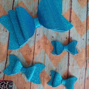 Other - Water resistant Blue glitter butterfly bow